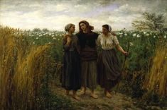 """Returning from the Fields"" by Jules Adolphe Aimé Louis Breton (1871) at the Walters Art Museum, Baltimore - From the curators' comments: ""In this rural scene, probably set in the artist's native Pas-de-Calais, north of Paris, three young women return from the fields at dusk. Their idealized forms contrast markedly with the harshness of Millet's depictions of peasant life."""