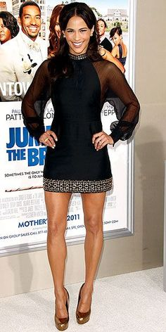 "Paula Patton in Moschino dress and Brian Atwood heels at the L. premiere of ""Jumping the Broom"", May 2011 Afro, Paula Patton, Black Actresses, Hollywood Actresses, Great Legs, Nice Legs, Brian Atwood, Night Looks, Classy Women"