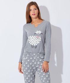 Pyjama 3 pièces, veste polaire, haut et bas imprimé mouton - ANTON - GRIS - Etam Lingerie - Octobre 2015 - 55€