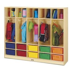 Jonti-Craft Large Kids Locker Organizer with 10 Colored Tubs, Brown Classroom Layout, Classroom Decor, Home Daycare Rooms, Preschool Cubbies, Micro Creche, Regal Bad, Kids Locker, Daycare Design, Starting A Daycare