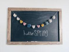 Hello spring chalkboard art with pompom garland