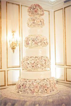 GORGEOUS White & Blush Rose Wedding Cake ~ Elegant Wedding Inspiration ~ Photo: Select Studios