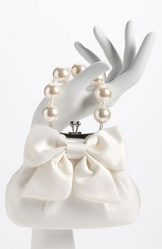"""Sondra Roberts 'Large' Satin Bow Clutch, ITEM #582608, $78.00 (This purse is SO """"Breakfast at Tiffany's!"""")"""