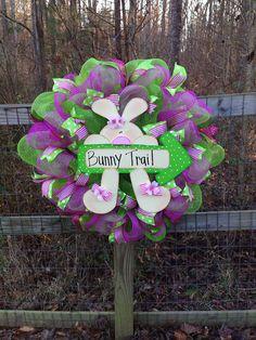 Deco mesh spring wreath on Etsy, $65.00