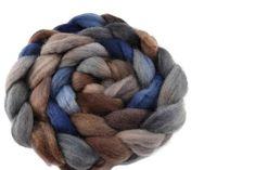 Corriedale Wool Sliver/Roving/Top Hand Dyed Brown Blue Grey 12400 Nuno Felting, Needle Felting, Drop Spindle, Spinning Wheels, Weaving Projects, Neck Wrap, Merino Wool Blanket, Blue Grey, Knit Crochet