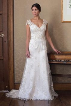 V-Neck Sheath Wedding Dress  with Natural Waist in Beaded Lace. Bridal Gown Style Number:33089756