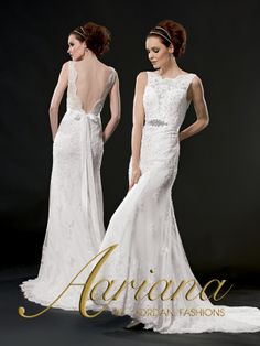 Aariana Style #: 9488  Shown in Diamond White…Lace fit and flare gown with chapel train. Sheer bateau neckline with low V-back. Buttons and loops over zipper. Rhinestone accent on Satin Ribbon sash. Available in sizes 0-34.