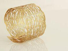 24 karat Yellow gold plated bracelet, Lace cuff Bracelet,statement bracelet by Inbar Shahak