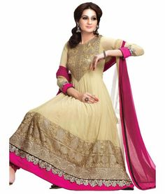 Go gorgeous with New Beige Embroidered Anarkali Suit. Shop now @ http://www.ethnicstation.com/salwar-kameez/anarkali  #PartyWearSalwarSuits     #DesignerAnarkaliSuits #casualwear #coupons #onlineshopping #offers