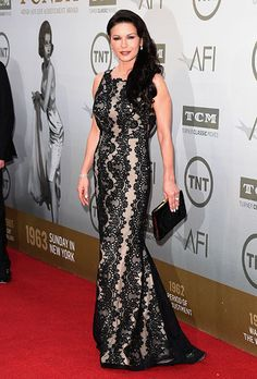 Brides.com: 15 Mother of the Bride-Worthy Red Carpet Dresses%0ACatherine Zeta-Jones in Alice + Olivia at the 2014 AFI Life Achievement Awards: A Tribute to Jane Fonda.Photo: Getty Images