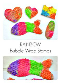 Printmaking with kids : Rainbow bubble wrap stamps.#artprojectsforkids