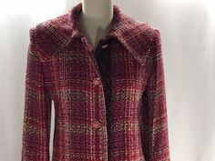 Victor Costa Jacket Tweed Long Duster Coat Size 10 Pink Womens Lined #VictorCosta #BasicJacket #AllOccasion