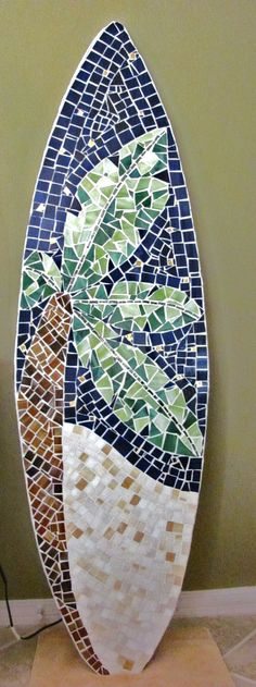 Stained Glass Mosaic Surfboard 5ft Wall Art by LucyDesignsonline,