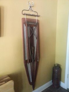 Old wood ironing board & rack from CC dad's barn.