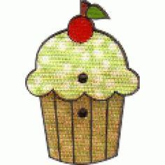 Botão de mdf forrado com tecido de Cupcake com cereja