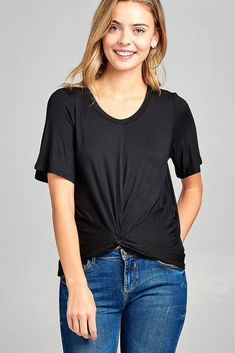 071c2e429606b Ladies fashion short sleeve round neck front twisted rayon spandex top  Twist Front Top
