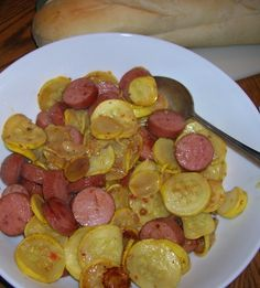 Sausage And Summer Squash Recipe - Food.com (this would be a great appetizer as well) and you can make it a little healthier with turkey sausage and f.f dressing