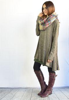 Blowtout Chiffon Layered A-Line Knit Dress S-XL | Jane