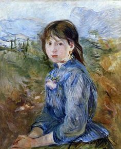 The Little Girl from Nice, Celestine, 1889, oil on canvas. Musée des Beaux-Arts, Lyons, France. Impressionist. Berthe Morisot (1841 – 1895).