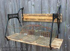 wall shelf singer sewing machine base yardsticks, repurposing upcycling, shelving ideas, storage ideas, wall decor