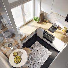 Маленькая квартира-студия. Дизайн интерьера. ПЛИТКА, СТОЛЕШНИЦА, СТЕКЛЯННЫЙ ШКАФ+++