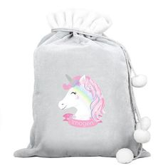Personalised Luxury Silver Grey Christmas Sack - Unicorn Father Christmas, Great Christmas Gifts, Christmas Eve, Christmas Unicorn, Santa Sack, Grey Fabric, Xmas Decorations, One Color, Sale Items