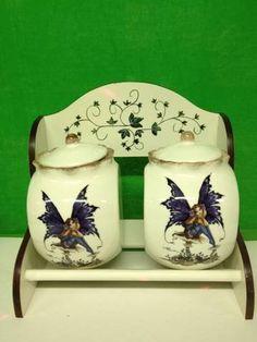 Tuscany Amy Brown Fairy Hand Painted Kitchen 2 Pcs Jar w/Rack by ACK, http://www.amazon.com/dp/B00ABAM2JQ/ref=cm_sw_r_pi_dp_te.asb1QW0R6F