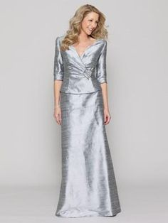 Conservative Mother of the Bride Dress. Silk dupioni two-piece dress with a ruched jacket and three-quarter-length sleeves by Collection 20 by Watters.