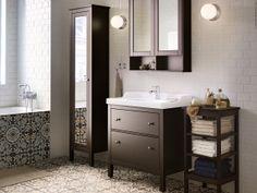 HEMNES badrumsserie i svartbrun bets.
