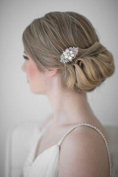 Wedding Hair Comb Rhinestone Bridal Hair comb by PowderBlueBijoux