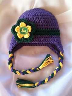 Crochet Hat made with John Deere Fabric by gammyshouse on Etsy