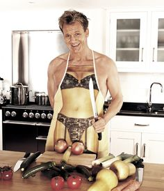 Perfectly arranging his vegetables for a naughty chef photo shoot. | 33 Things Only Chef Gordon Ramsay Can Get Away With