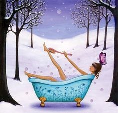 Bath in snowy woods artist Illustration by www.MilaMarquis.com and www.Facebook.com/MilaMarquisillustration
