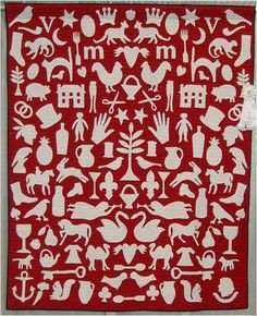 Red and White applique quilt, Mary Vaughn, 2009