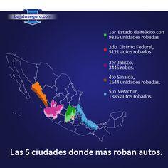 ¿Quieres saber cuáles son las ciudades dónde más se roban autos? Según la (OCRA) en el primer semestre de 2014 éstas son. www.bajatuseguro.com