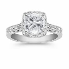 Halo Diamond Engagement Ring with Cushion Cut Diamond