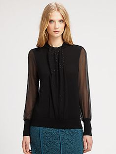 Tory Burch Wool/Silk Abitha Sweater in Teal