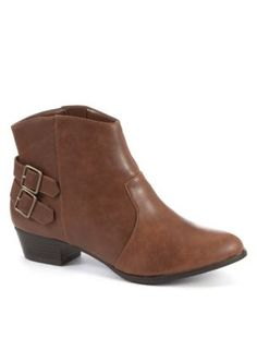 Wide Fit Brown Leather-Look Cowboy Boots