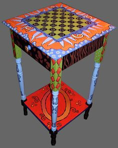 Whimsical Hand Painted Art Furniture | ... furniture, handpainted table, custom art chess boards Chicago