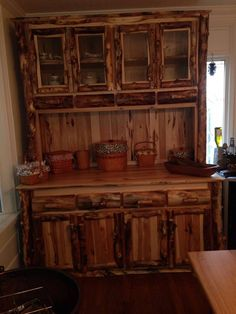 Aspen Log Double Hutch... (814) 257-8911 or facebook at Old Farm Amish Furniture for a complete line of rustic log amish made furniture in aspen, sassafras, hickory, peeled pine, cedar and more :)