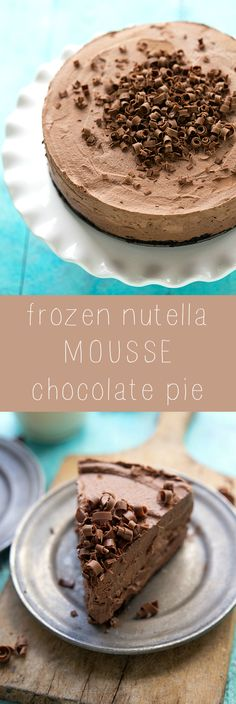 Delicious and Easy Frozen Nutella Chocolate Mousse Pie. Time to feed my Nutella obsession Nutella Pie, Nutella Mousse, Chocolate Mousse Pie, Chocolate Desserts, Nutella Chocolate, Mousse Cake, Chocolate Pudding, Desserts Nutella, Mousse Dessert