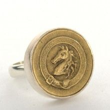 Vintage horse head button ring.