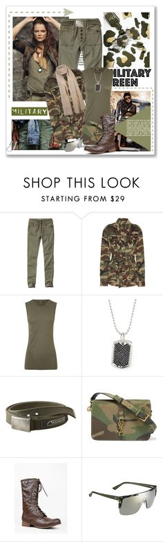 """Attention: Go Army Green"" by eula-eldridge-tolliver ❤ liked on Polyvore featuring Abercrombie & Fitch, Yves Saint Laurent, BLK DNM, Stella Valle, Mountain Khakis, Madden Girl and Gucci"