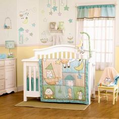 This adorable collection features a timeless nursery rhyme theme that your little one will love. A combination of unique prints in a neutral color way of aqua, blue, green, yellow and tan sets a perfect background for the nursery rhyme characters, creating a classic nursery with a contemporary flair.
