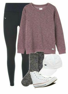 the latest f4ee1 b02c9 black nike leggings, pink sweat shirt, dark grey fuzzy socks, white high top