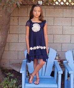 Look at this #zulilyfind! Navy & Ivory Floral Overlay Dress - Toddler & Girls by Twirls & Twigs #zulilyfinds