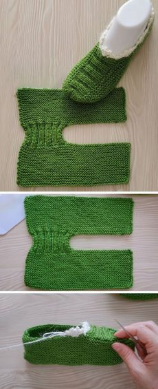 Free Slippers Tutorial – Knitting patterns, knitting designs, knitting for beginners. Knitting Stitches, Knitting Designs, Free Knitting, Knitting Projects, Baby Knitting, Crochet Projects, Free Crochet, Knit Crochet, Knitting Patterns