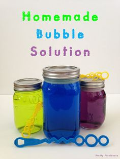 Sugar Bubbles 6 cups hot water 3/4 cups corn syrup 1 1/2 cups Dawn. Very fin but expect to be very sticky when you're done blowing bubbles!