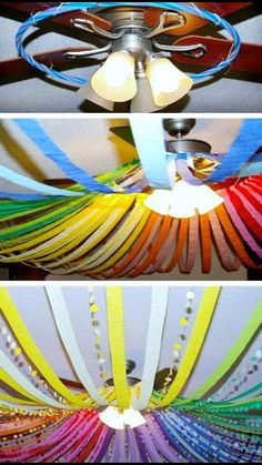 Do this on the porch w/o the fan. Add balloons in center.