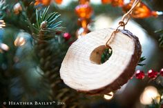i like this idea, save a little piece of the stump of your christmas tree and make it into an ornament. cute. #diy